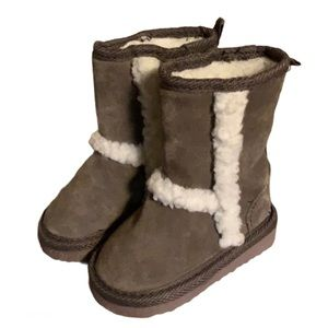 Please Mum Taupe Sherpa Boots - Baby Size 4